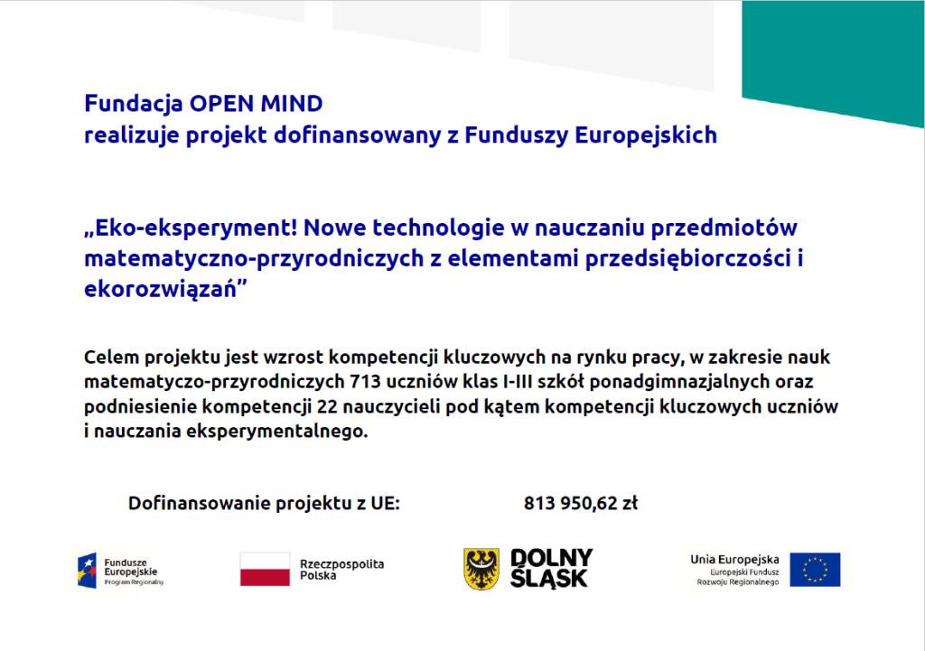 """Eko-eksperyment! Nowe technologie w nauczaniu przedmiotów matematyczno przyrodniczych z elementami przedsiębiorczości i ekorozwiązań"""""""